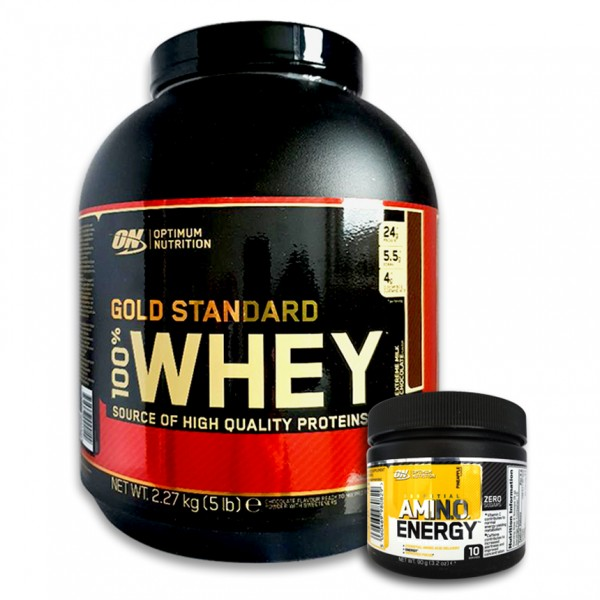 Optimum Nutrition 100% Whey Gold Standard 2270g Gratis Optimum Amino Energy 90 g
