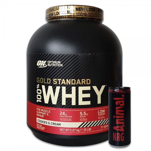 Optimum Nutrition 100% Whey Gold Standard 2270g Gratis Animal Energy Drink
