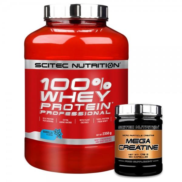 Scitec Nutrition 100% Whey Protein Professional 2350g + Gratis Mega Creatine